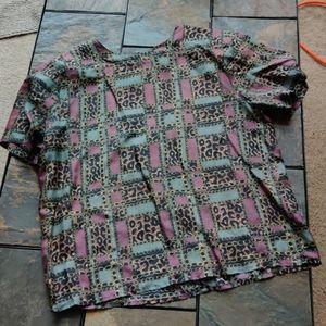 100% Silk Animal Print Cheetah and Purple Top S